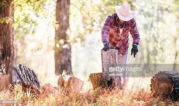 Mann stellen Brennholz auf-Tor, bevor es mit einer Axt Schneiden