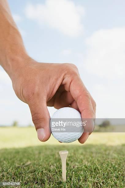 man placing golf ball on a tee - ゴルフボール ストックフォトと画像