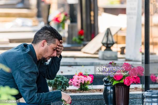 hombre colocando flor de rosa roja en tombstone in cemetery - mausoleo fotografías e imágenes de stock