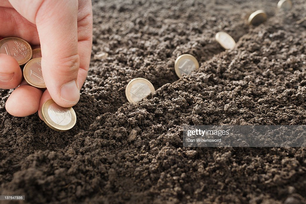 Man planting Euro coins in soil : Stock Photo