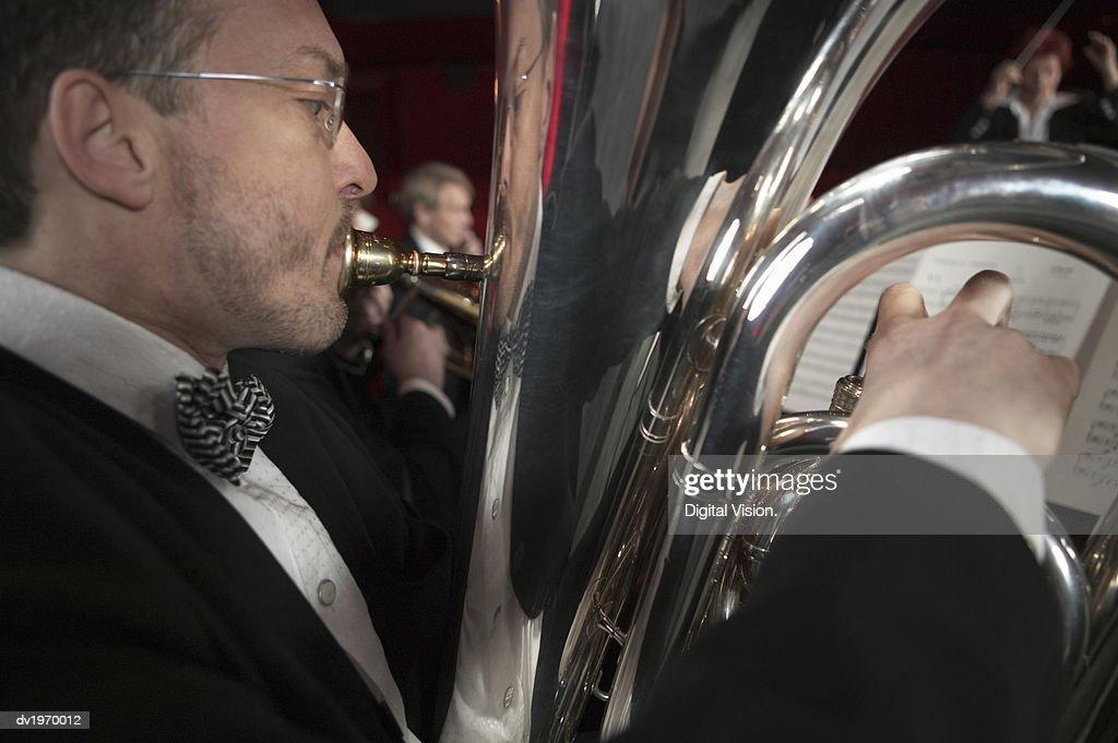 Man Playing a Tuba : Stock Photo