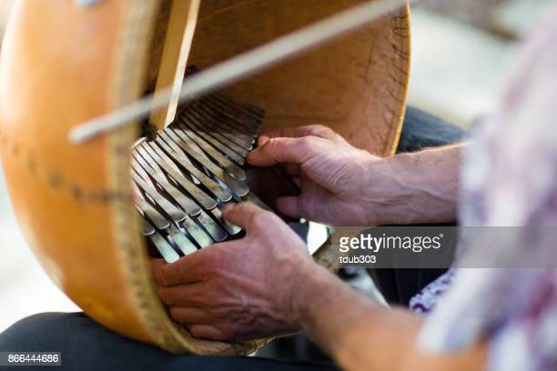 a man playing an african kalimba and singing on the patio of a cabin in the woods - percussion instrument stock photos and pictures