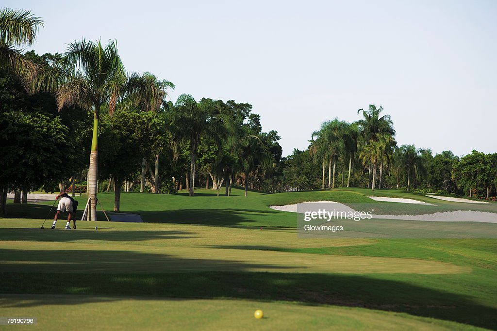 Man playing golf in a golf course : Stock Photo