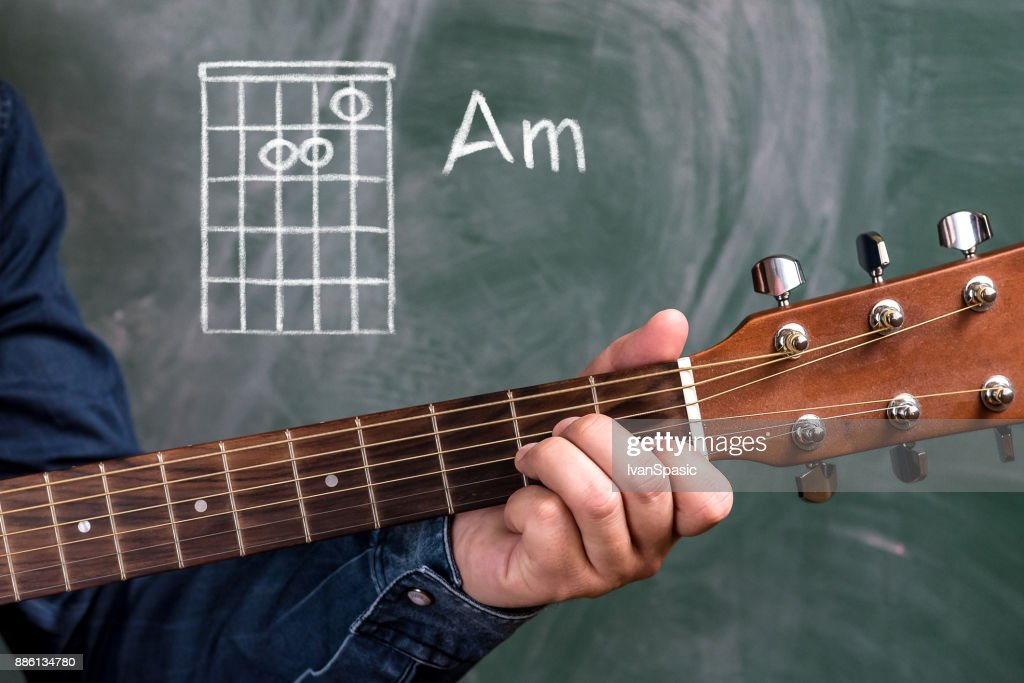 Man Playing Guitar Chords Displayed On A Blackboard Chord Am Stock