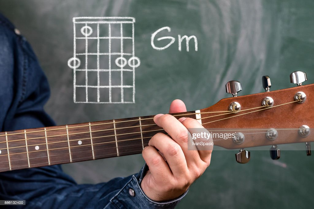 Man Playing Guitar Chords Displayed On A Blackboard Chord Gm Stock