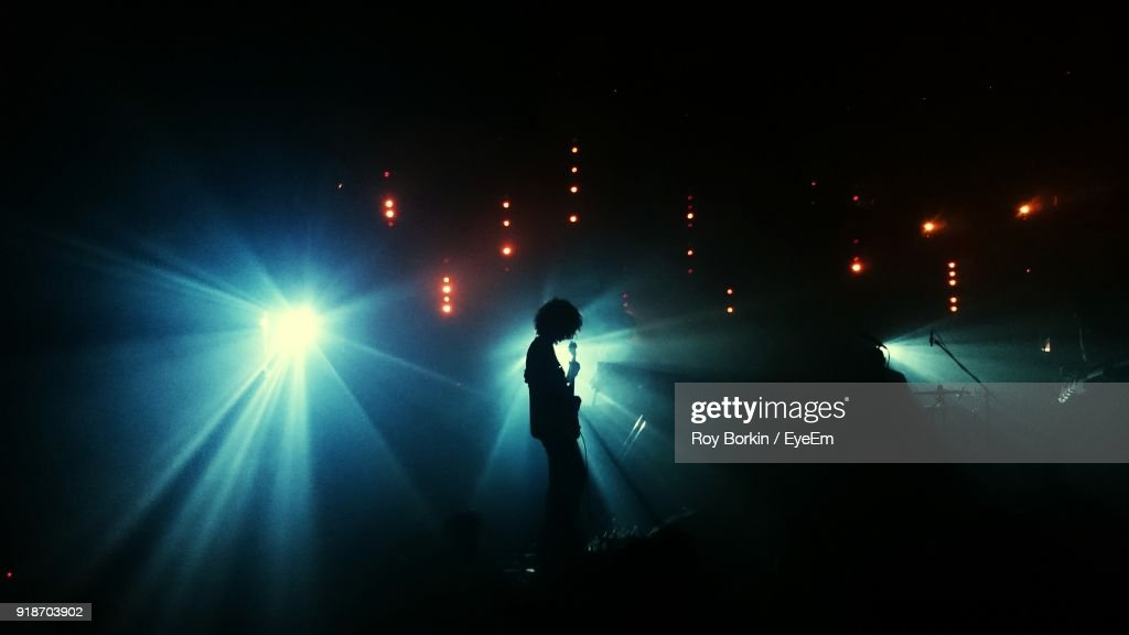 Man Playing Guitar In Music Concert At Night : Stock Photo