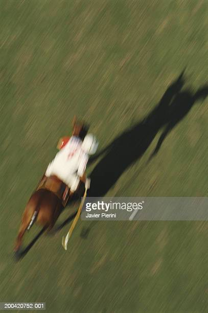 Man playing polo, elevated view (blurred motion)