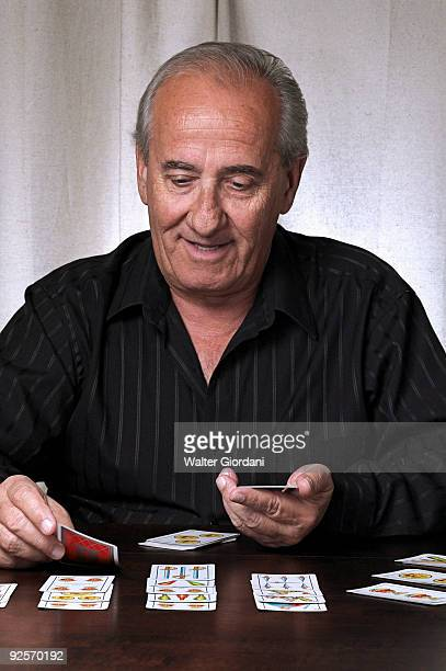 Man playing solitaire