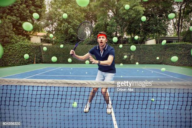 man playing tennis - humor bildbanksfoton och bilder