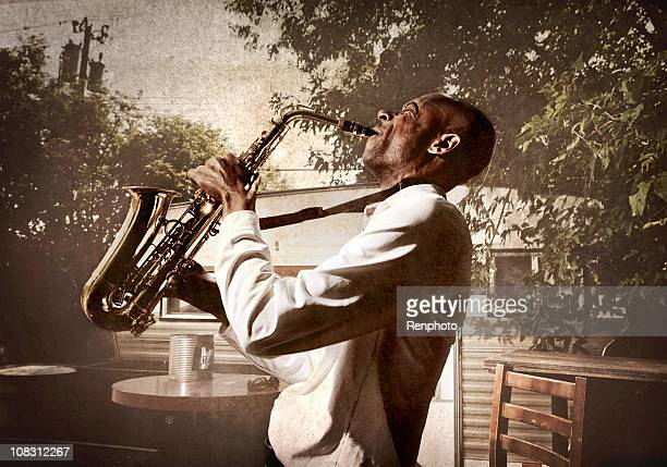 Man Playing the Sax in a Trailer Park