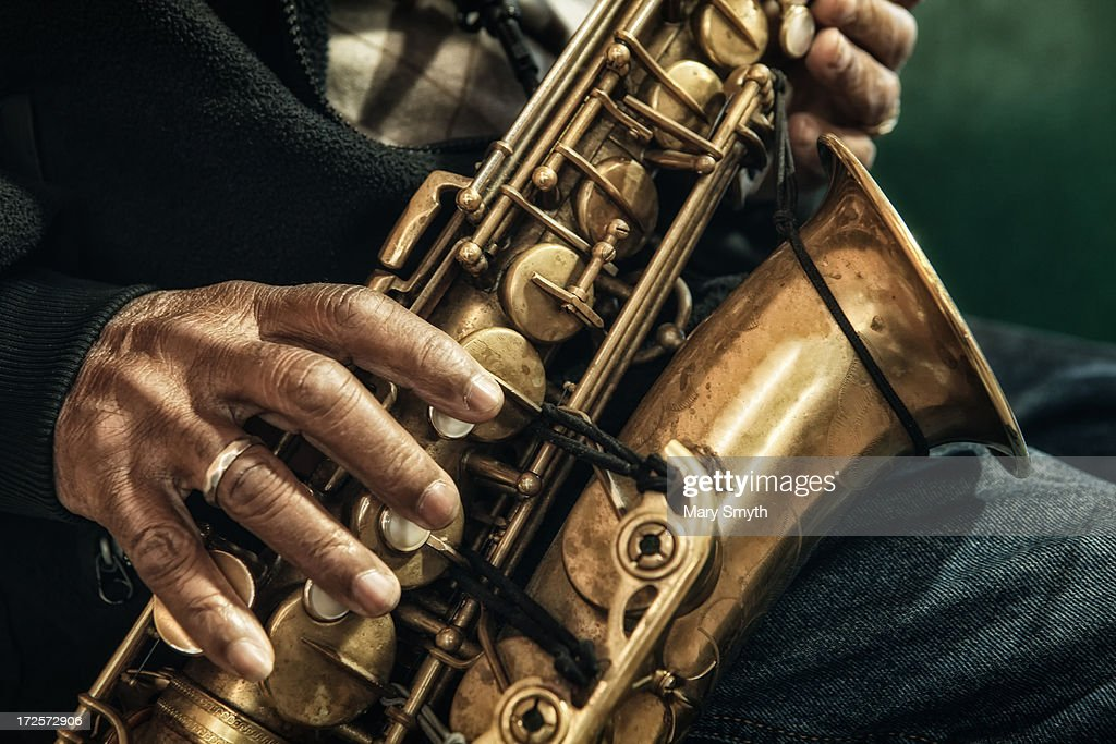 Man Playing The Saxophone : Stock Photo