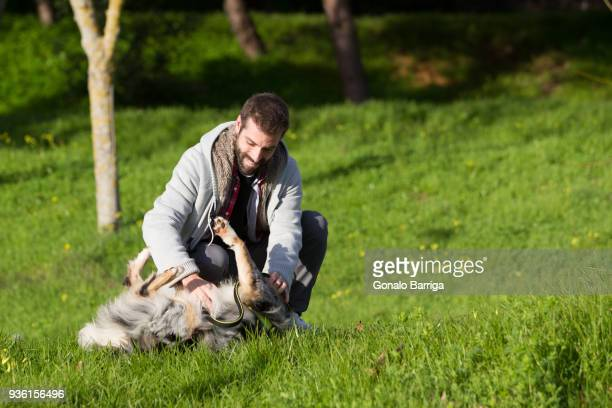 Man playing with dog in park grass