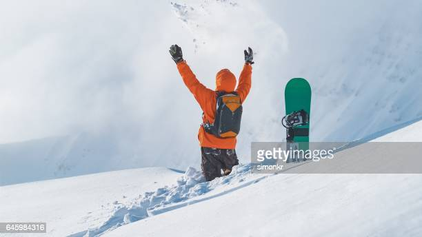 Man playing with snow