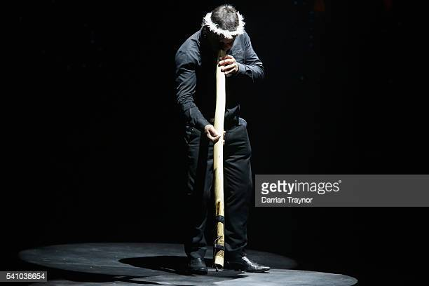 A man plays the didgeridoo during Jessica Mauboy performance during the Prime Minister's Olympic Dinner at The Melbourne Convention and Exhibition...
