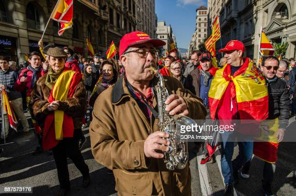 A man plays the saxophone during the Spanish unionist demonstration Spain celebrates today the 39 anniversary of its Constitution This year the...