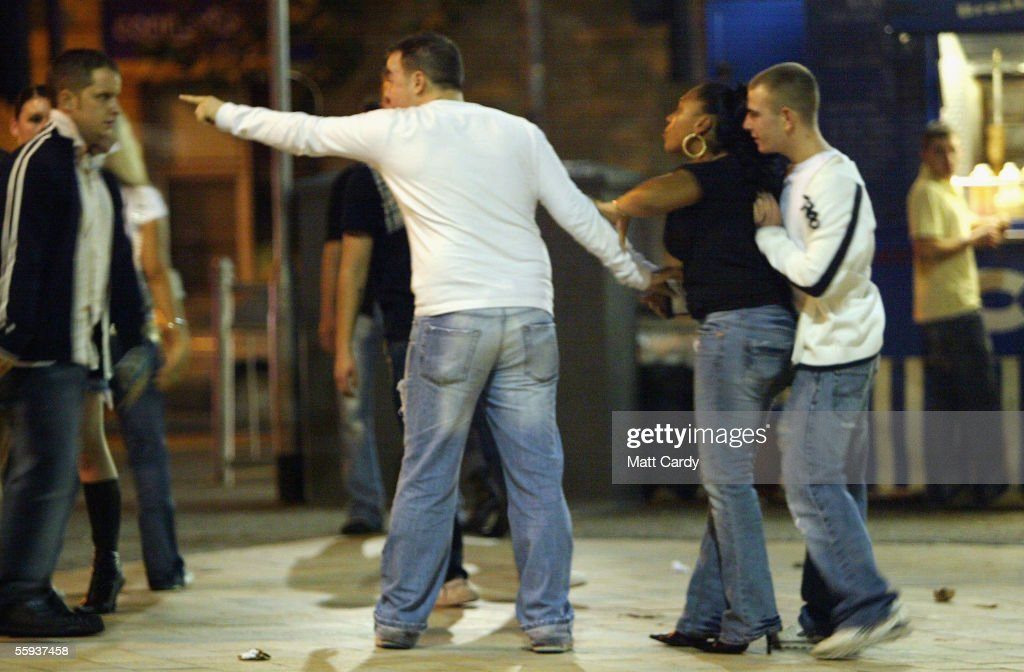 A man points at another man during an arguement in Bristol City Centre on October 15, 2005 in Bristol, England. Pubs and clubs preparing for the new Licensing laws due to come into force on November 24 2005, which will allow pubs and clubs longer and more flexible opening hours.Opponents of the law believe this will lead to more binge-drinking with increased alcohol related crime, violence and disorder while health experts fear an increase in alcohol related illnesses and alcoholism.
