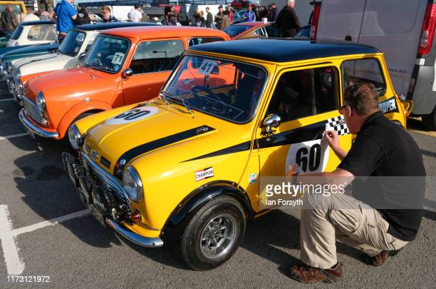 A man polishes his Mini Cooper during the Saltburn Hill Climb event on September 08 2019 in SaltburnbytheSea England Organised by Middlesbrough and...