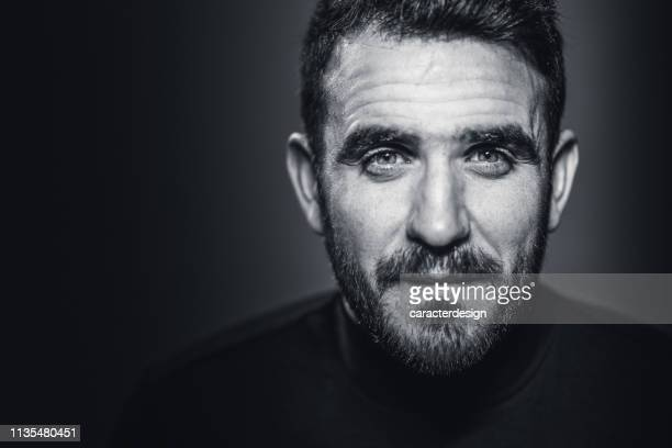 man portrait in black and white - facial hair stock pictures, royalty-free photos & images