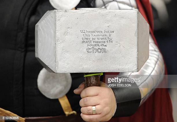 A man poses as Thor during the Silicon Valley Comic Con in San Jose California on March 18 2016 Presented by Steve Wozniak the comic and...