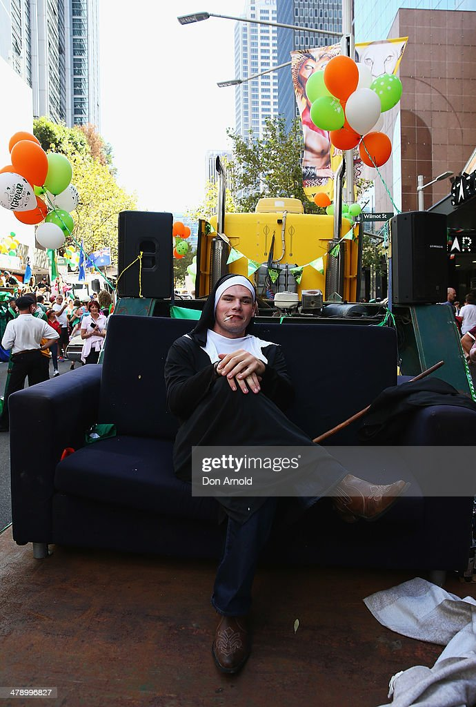 A man poses in a Father Ted outfit prior to marching in the parade on March 16, 2014 in Sydney, Australia. St Patrick's Day is an annual religious and cultural commemoration of the widely recognised patron saint of Ireland, Saint Patrick. March 17th, is a public holiday in Northern Ireland and the Republic of Ireland but is celebrated in many countries around the world where Irish diaspora have settled.