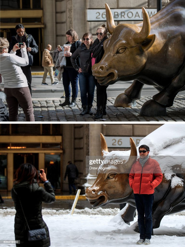 People pose next to the Charging Bull sculpture in the Financial District, February 8, 2017 in New York City. As temperatures touched 60 degrees on Wednesday, the city is preparing for up to a foot of snow on Thursday. A man poses next to the snow-covered Charging Bull sculpture in the Financial District, February 9, 2017 in New York City. Following a day of 60 degree temperatures, New York City is expected to receive significant snowfall throughout the day on Thursday.