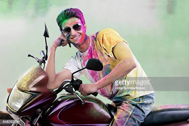 Man posing on a motorcycle