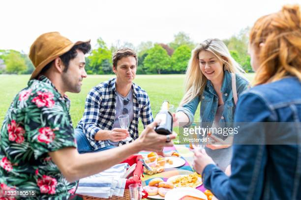 man pouring drink in wineglass while sitting with friends at park - drink stock pictures, royalty-free photos & images