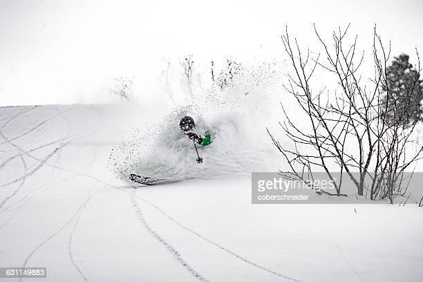 Man Powder Skiing in Alps, Austria