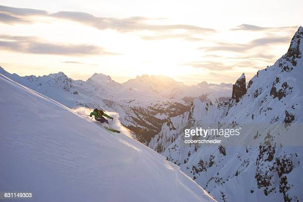 Man Powder Skiing in the Arlberg region of Austrian Alps, Austria