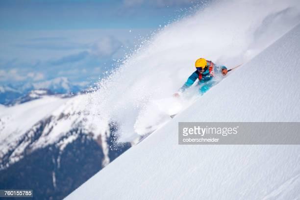 Man Powder Skiing in the Austrian Alps, Gastein, Salzburg, Austria