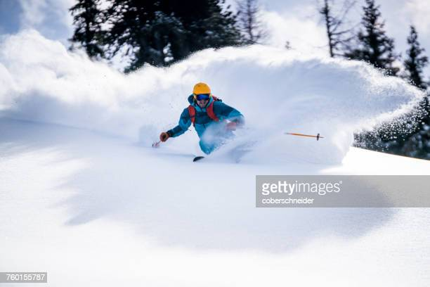 Man Powder Skiing in the Austrian Alps, Gastein, Salzburg, Austria