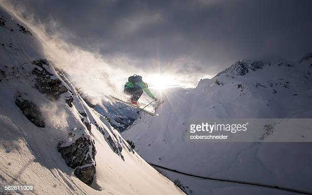 Man Powder Skiing, Lech, Austria