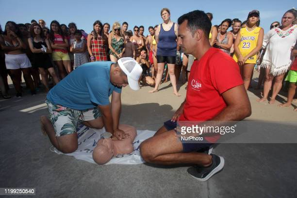 A man practice a cardiac massage during the resuscitation training during a CPR and first aid training in San Bernardo La Costa party Argentina on...