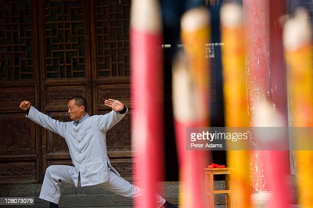 man practising martial art, zaozhuang water town, near shanghai, china - peter adams stock pictures, royalty-free photos & images