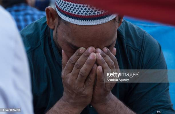 A man prays prior to have his first Iftar of the holy month of Ramadan at Jama Masjid in the walled city in Old Delhi India on May 07 2019 Muslims in...