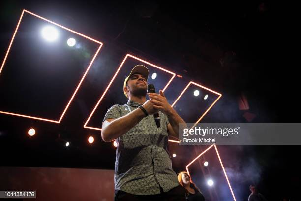 A man preaches at the Horizon Church on September 29 2018 in Sydney Australia Horizon Church is a Pentecostal Christian church based in the southern...