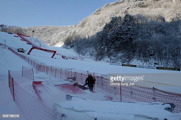 A man prepares for Men's Super G Finals during the 2016 Audi FIS Ski World Cup at the Jeongseon Alpine Centre on February 7 2016 in Jeongseongun...