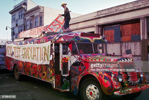 A man prepares the Merry Pranksters' bus Further for its drive to the Acid Test Graduation in San Francisco This psychedelic motoring maching is...
