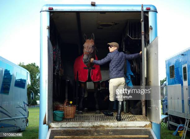 A man prepares to lead his horse out of his trailer during 152nd the Ryedale Country Show on July 31 2018 in Kirbymoorside England Held in Welburn...