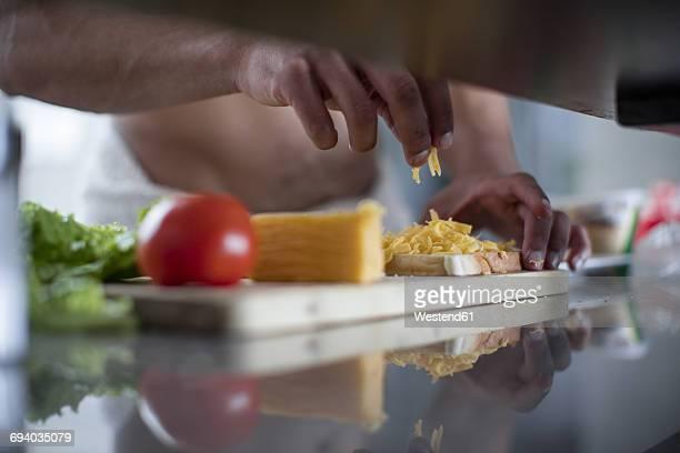 Man preparing a cheese sandwich