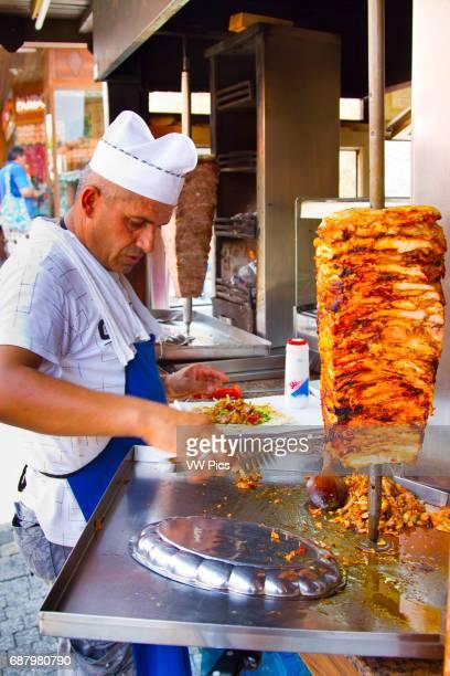 Man preparing dšner kebab. Side. Province of Antalya. Mediterranean coast. Turkey.