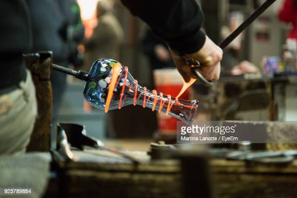 man preparing vase in industry - murano stock pictures, royalty-free photos & images