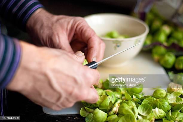 Man preparing vegetables for dinner