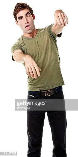 hombre hacer un zombie - zombie fotografías e imágenes de stock