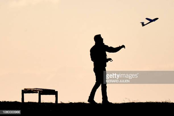 A man propels a remotecontrolled plane in Marseille southern France on January 10 2019