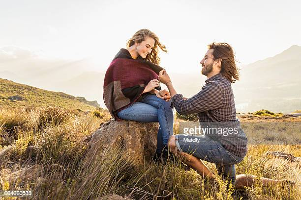 Man proposing to woman, Franschhoek, South Africa