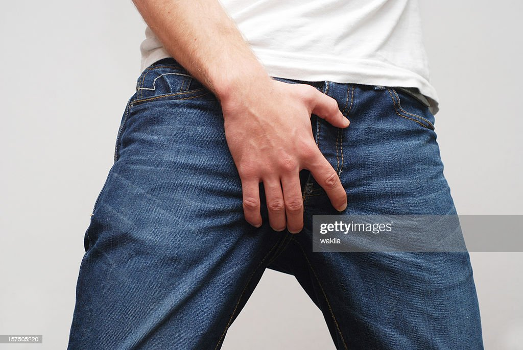 Man protecting his ballbag scrotum : Stock Photo