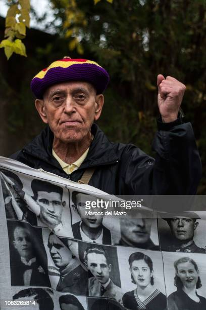 A man protesting at the Valley of the Fallen against the possible exhumation and transfer to the Cathedral of Almudena of the remains of Franco...