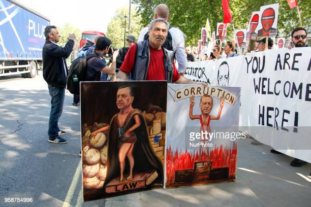 Man protests against Erdogan against the visit of Turkish president Recep Tayyip Erdogan in the UK London on May 15 2018 Mr Erdogan is to have talks...