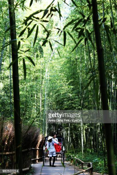 Man Pulling Woman Sitting On Cart In Bamboo Forest